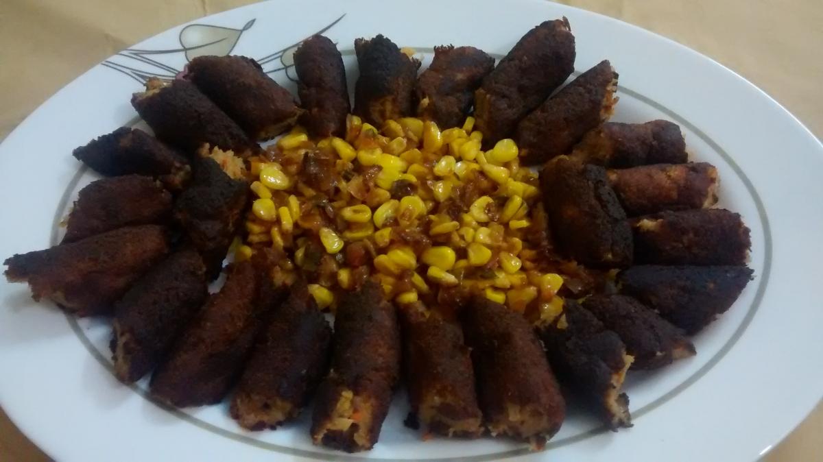 Soya Kebabs with Corn Salad